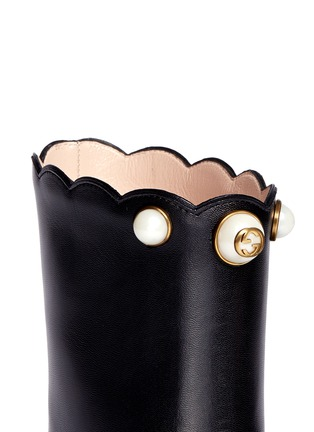 Detail View - Click To Enlarge - Gucci - Faux pearl scalloped cuff leather boots