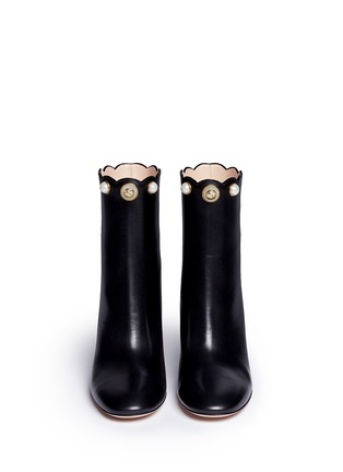 Front View - Click To Enlarge - Gucci - Faux pearl scalloped cuff leather boots