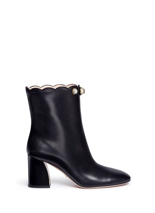 Main View - Click To Enlarge - Gucci - Faux pearl scalloped cuff leather boots