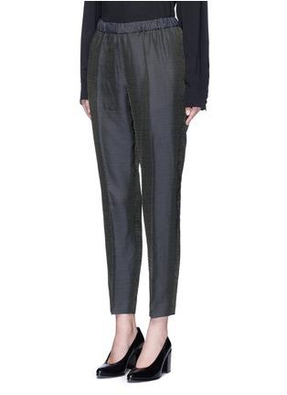 Front View - Click To Enlarge - Dries Van Noten - 'Palmira' metallic jacquard elastic waist pants