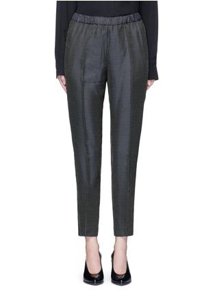 Main View - Click To Enlarge - Dries Van Noten - 'Palmira' metallic jacquard elastic waist pants