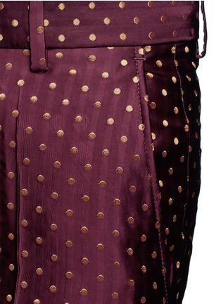 Detail View - Click To Enlarge - Dries Van Noten - Polka dot stripe jacquard cropped satin pants