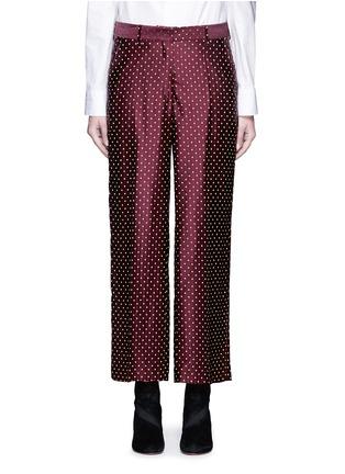 Main View - Click To Enlarge - Dries Van Noten - Polka dot stripe jacquard cropped satin pants