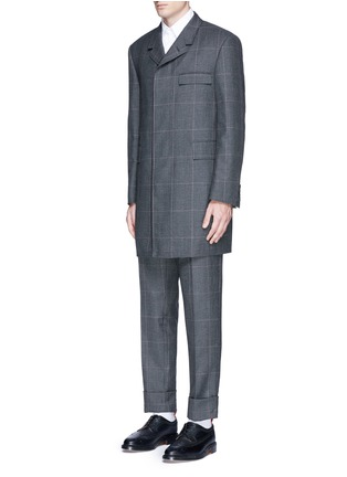 Front View - Click To Enlarge - Thom Browne - Glen plaid hairline overcheck wool coat