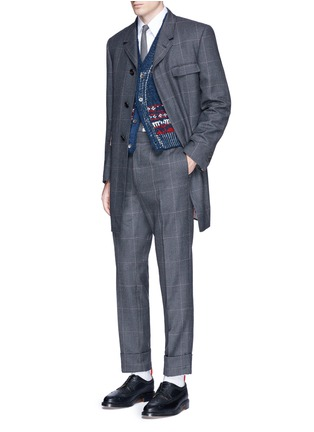 Figure View - Click To Enlarge - Thom Browne - Glen plaid hairline overcheck wool coat