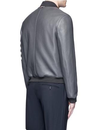 Back View - Click To Enlarge - Thom Browne - Stripe sleeve padded deer leather varsity jacket