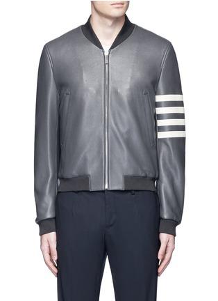 Main View - Click To Enlarge - Thom Browne - Stripe sleeve padded deer leather varsity jacket