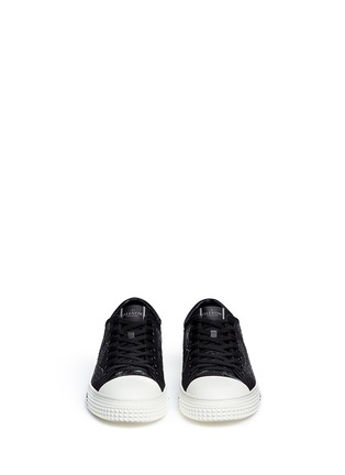 Front View - Click To Enlarge - Valentino - 'Camubutterfly Noir' embroidery sneakers