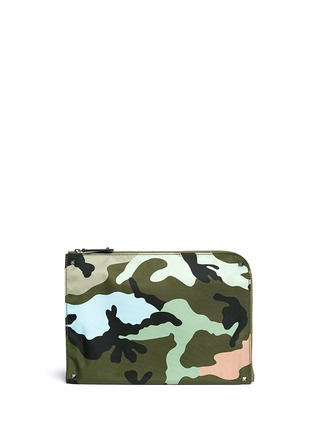 Main View - Click To Enlarge - Valentino - Camouflage print nylon zip pouch