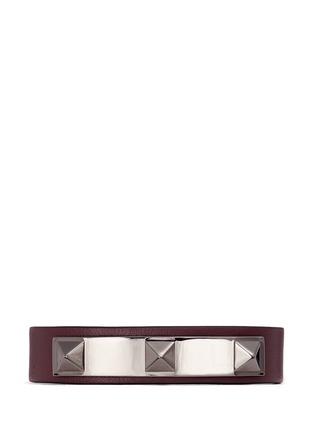 Main View - Click To Enlarge - Valentino - 'Rockstud' metal bar leather bracelet