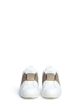 Front View - Click To Enlarge - Valentino - Colourblock leather sneakers