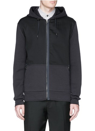 Main View - Click To Enlarge - Lanvin - Twill front bonded jersey zip hoodie