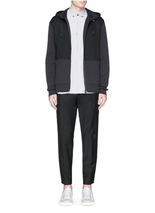 Figure View - Click To Enlarge - Lanvin - Twill front bonded jersey zip hoodie