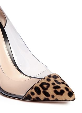Detail View - Click To Enlarge - Gianvito Rossi - Clear PVC leopard pony hair pumps