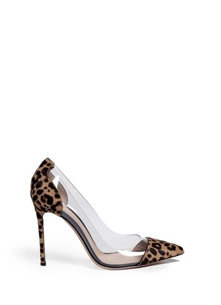 Main View - Click To Enlarge - Gianvito Rossi - Clear PVC leopard pony hair pumps