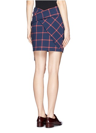 Back View - Click To Enlarge - THAKOON ADDITION - Windowpane check print tassel scarf wrap skirt