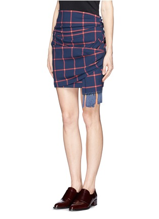 Front View - Click To Enlarge - THAKOON ADDITION - Windowpane check print tassel scarf wrap skirt