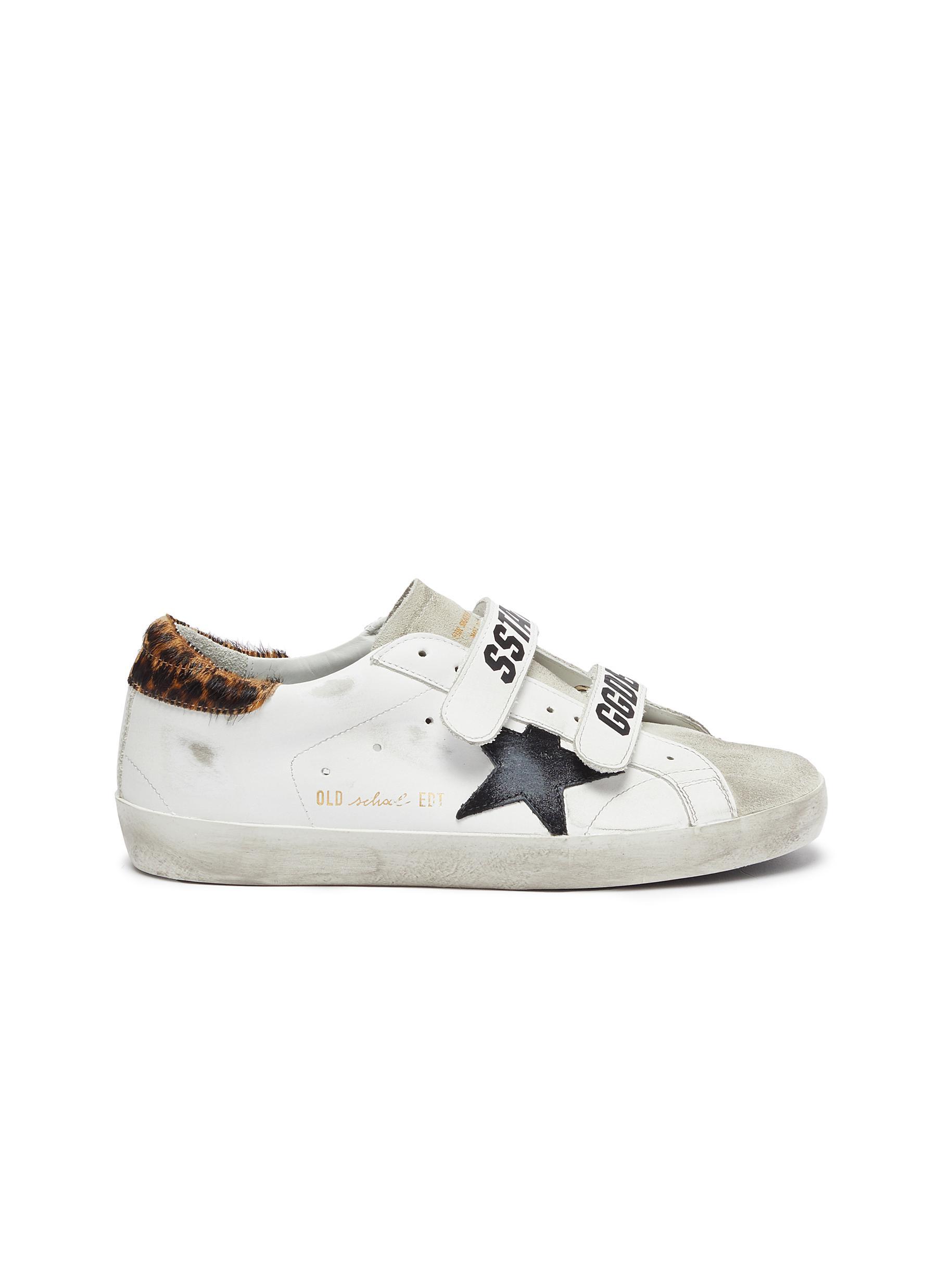 Golden Goose Sneakers Old School leopard panel slogan Velcro leather sneakers