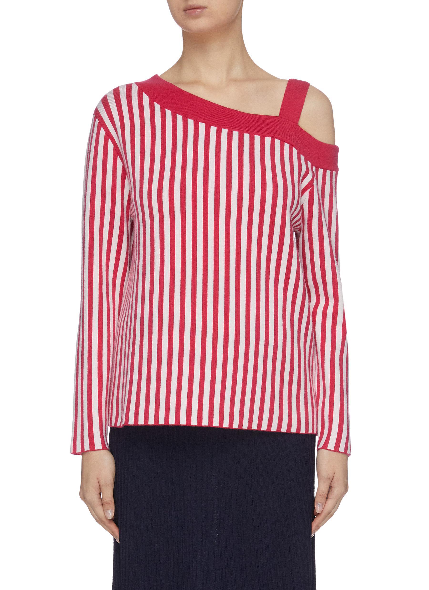 Buy Ph5 Knitwear Asymmetric off-shoulder merino wool stripe top