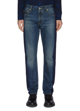 Main View - Click To Enlarge - ALEXANDER MCQUEEN - Two tone straight cut jeans