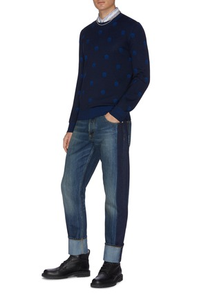 Figure View - Click To Enlarge - ALEXANDER MCQUEEN - Two tone straight cut jeans