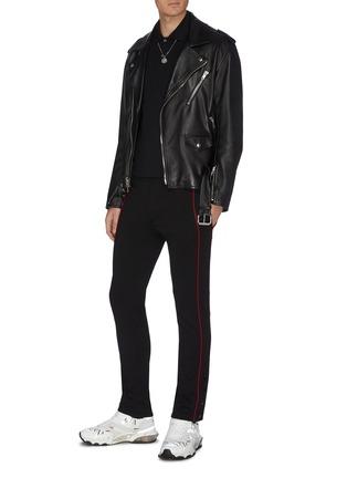 Figure View - Click To Enlarge - ALEXANDER MCQUEEN - Contrast outseam stripe jogging pants