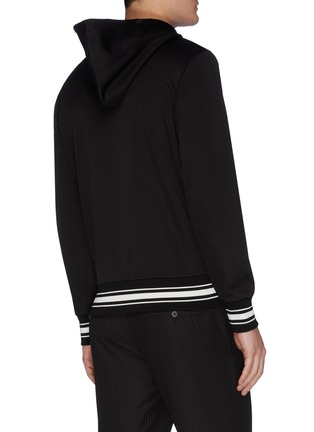 Back View - Click To Enlarge - ALEXANDER MCQUEEN - Logo embroidered zip detail hoodie