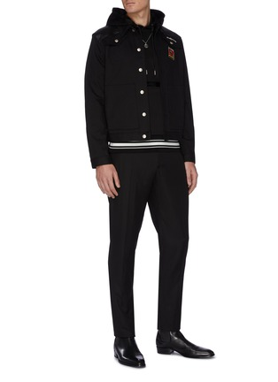 Figure View - Click To Enlarge - ALEXANDER MCQUEEN - Logo embroidered zip detail hoodie