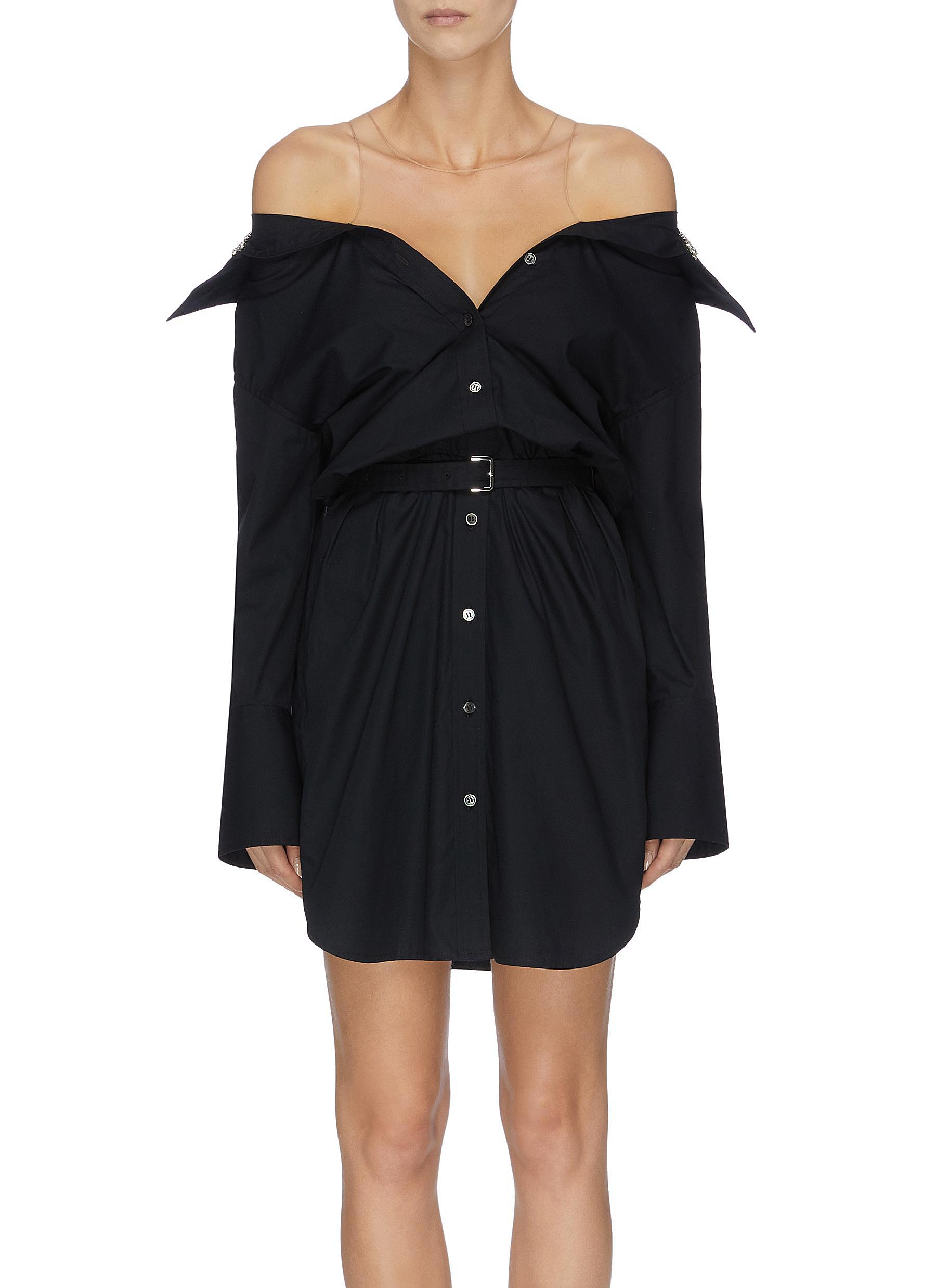 shop Alexander Wang x Lane Crawford belted off-shoulder shirt dress online
