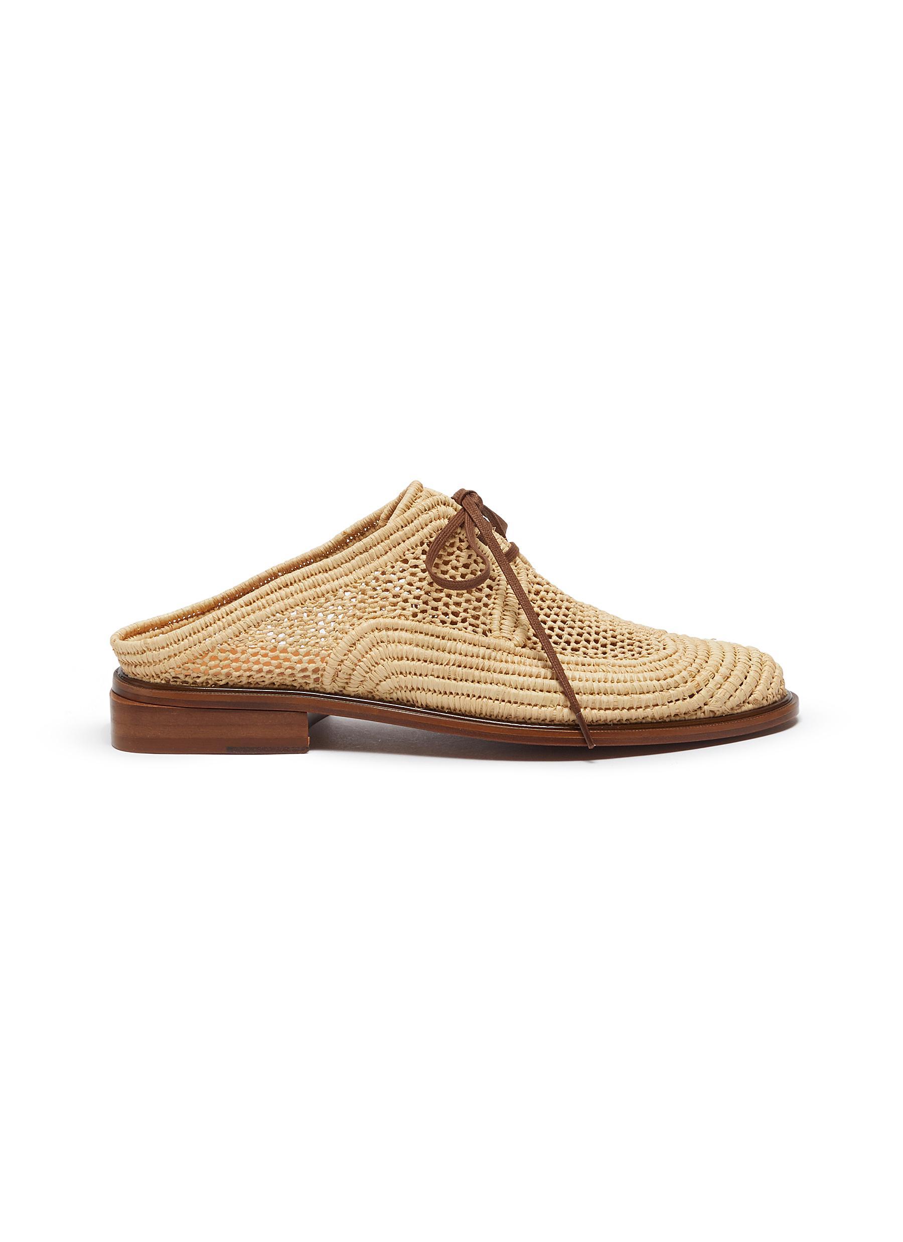 Clergerie Flats Jaly lace up raffia shoes