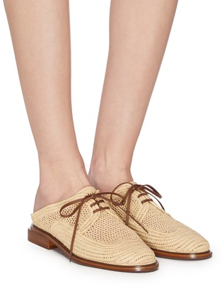 Figure View - Click To Enlarge - CLERGERIE - 'Jaly' lace up raffia shoes