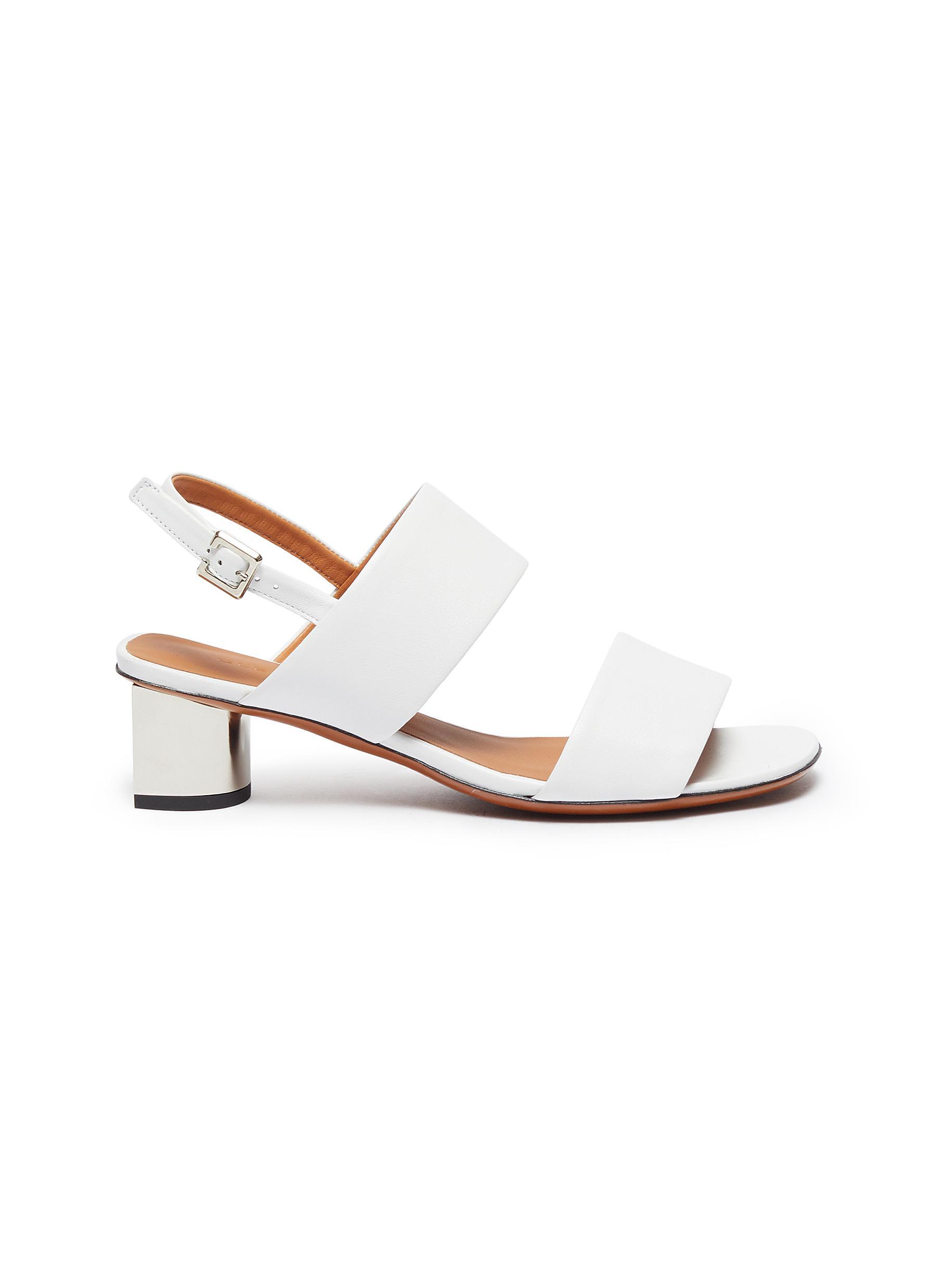 Clergerie Mid Heels Leonie metallic block heel slingback sandals