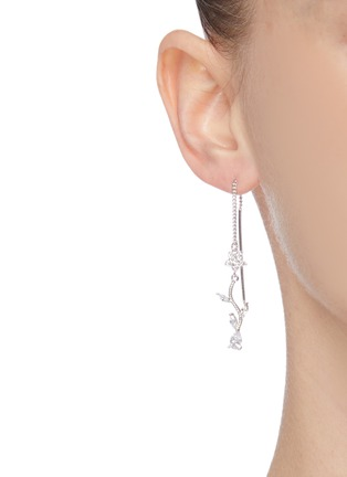 Figure View - Click To Enlarge - CZ BY KENNETH JAY LANE - Cubic zirconia floral vine drop earrings