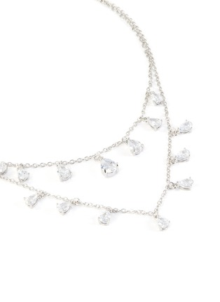 Detail View - Click To Enlarge - CZ BY KENNETH JAY LANE - Double tier layer pear-shape embellishments necklace