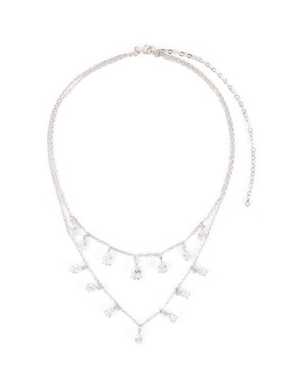 Main View - Click To Enlarge - CZ BY KENNETH JAY LANE - Double tier layer pear-shape embellishments necklace