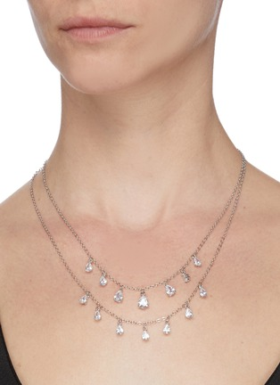 Figure View - Click To Enlarge - CZ BY KENNETH JAY LANE - Double tier layer pear-shape embellishments necklace