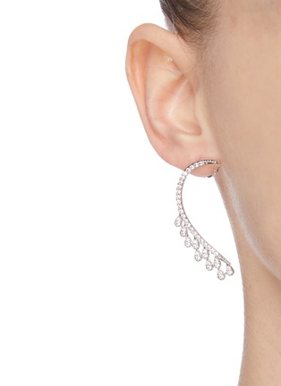Front View - Click To Enlarge - CZ BY KENNETH JAY LANE - Curved teardrop-shaped embellished earrings