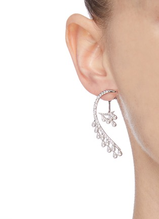 Figure View - Click To Enlarge - CZ BY KENNETH JAY LANE - Curved teardrop-shaped embellished earrings
