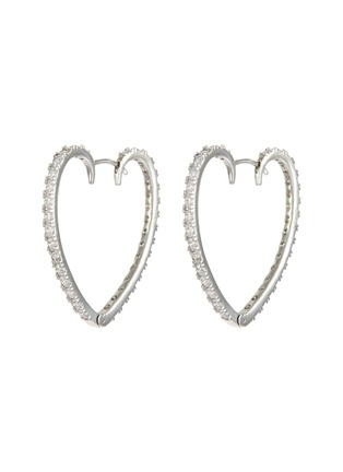Main View - Click To Enlarge - CZ BY KENNETH JAY LANE - Heart shaped embellished hoop earrings