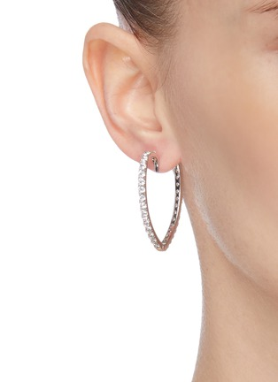 Figure View - Click To Enlarge - CZ BY KENNETH JAY LANE - Heart shaped embellished hoop earrings