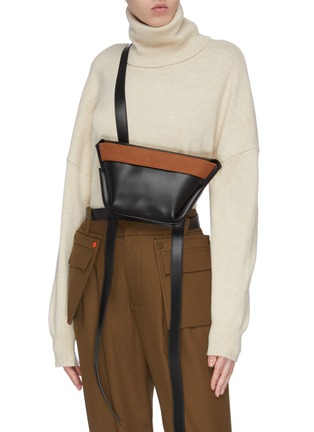Figure View - Click To Enlarge - KHAORE - 'Baby Carrier' trapezoid crossbody bag