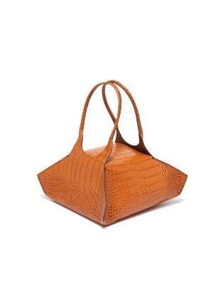 Detail View - Click To Enlarge - KHAORE - 'Baby Kutchra' croc embossed leather top handle bag