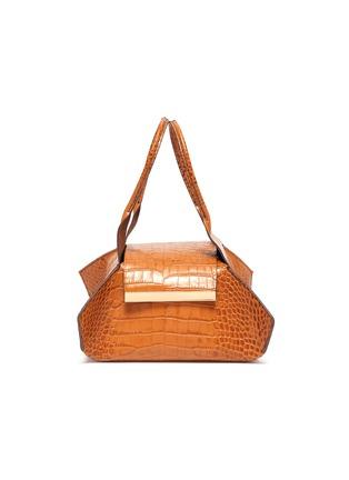 Main View - Click To Enlarge - KHAORE - 'Baby Kutchra' croc embossed leather top handle bag