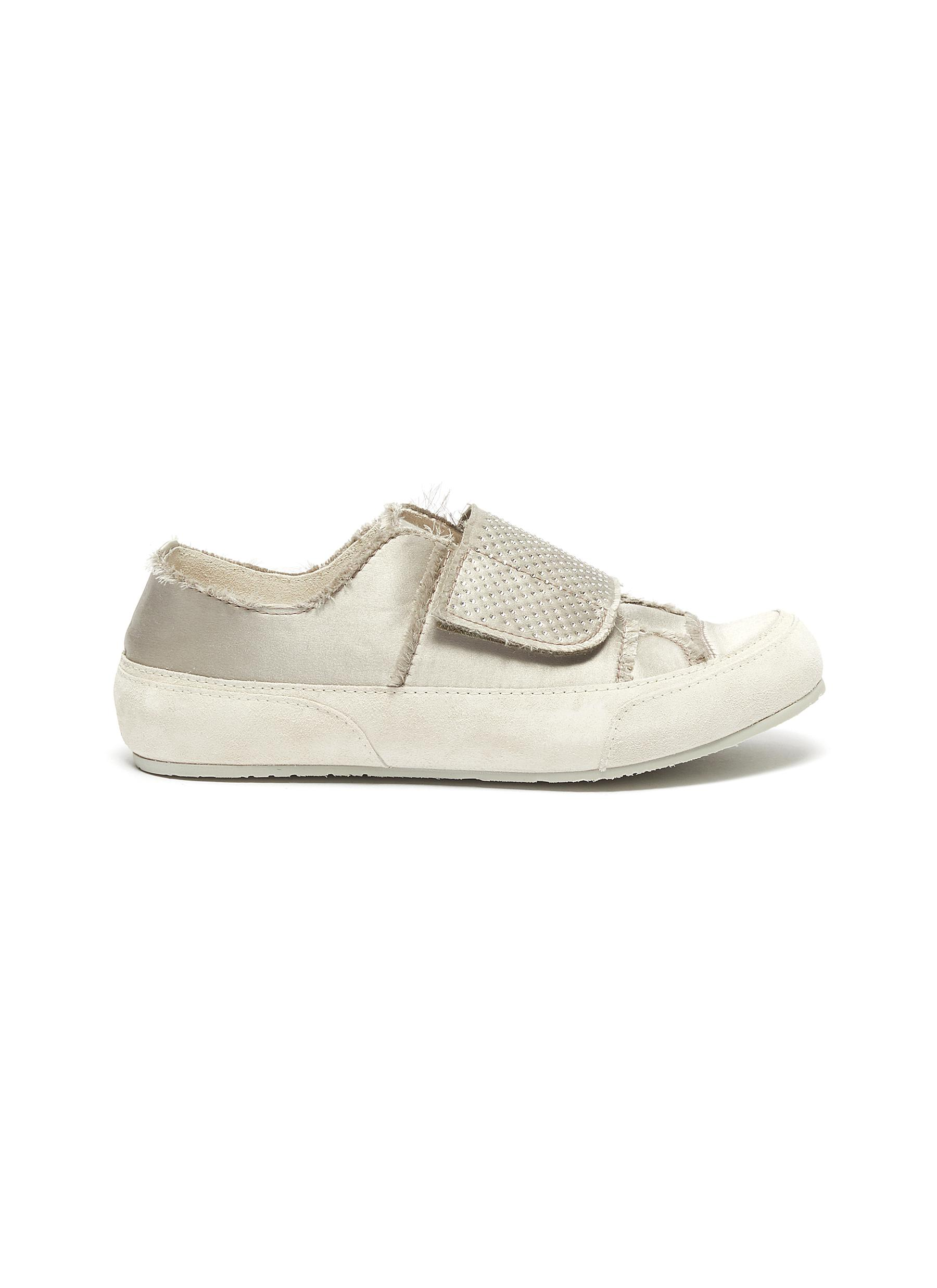 Pedro García Sneakers Pailie crystal embellished frayed stitch silk sneakers