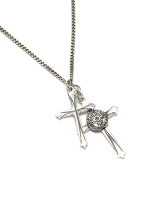 Detail View - Click To Enlarge - EMANUELE BICOCCHI - Double cross necklace