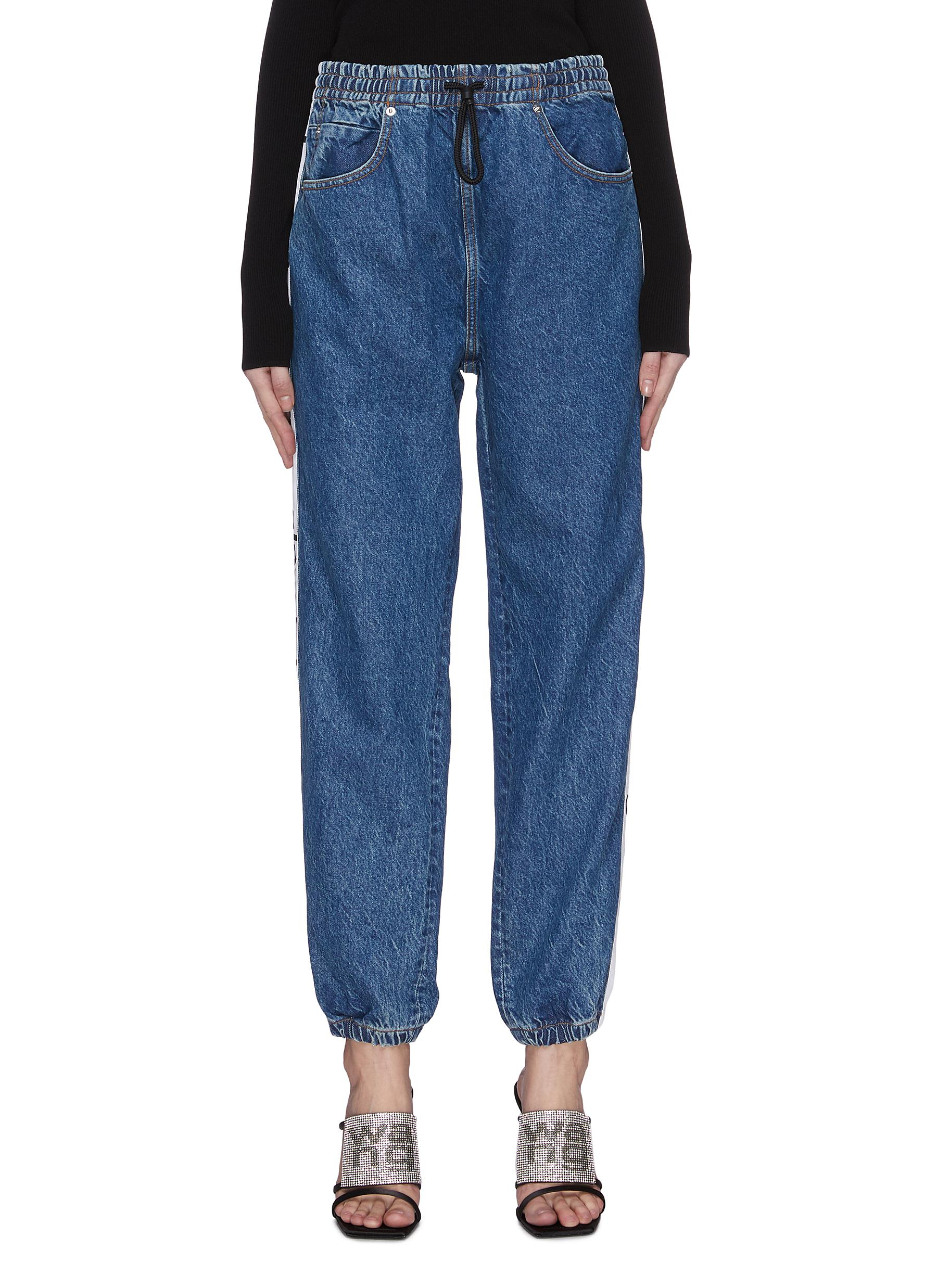 Buy Alexander Wang Jeans 'Deep Blue' logo tape drawstring jeans