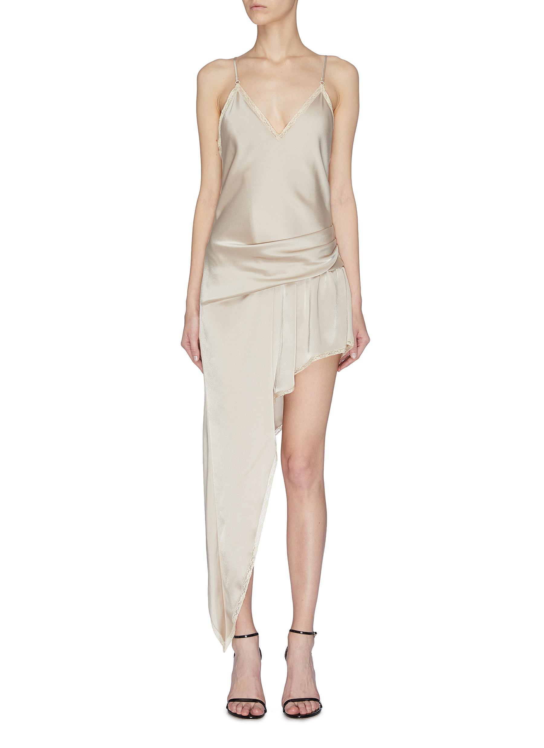 shop Alexander Wang Asymmetric gathered lace camisole dress online