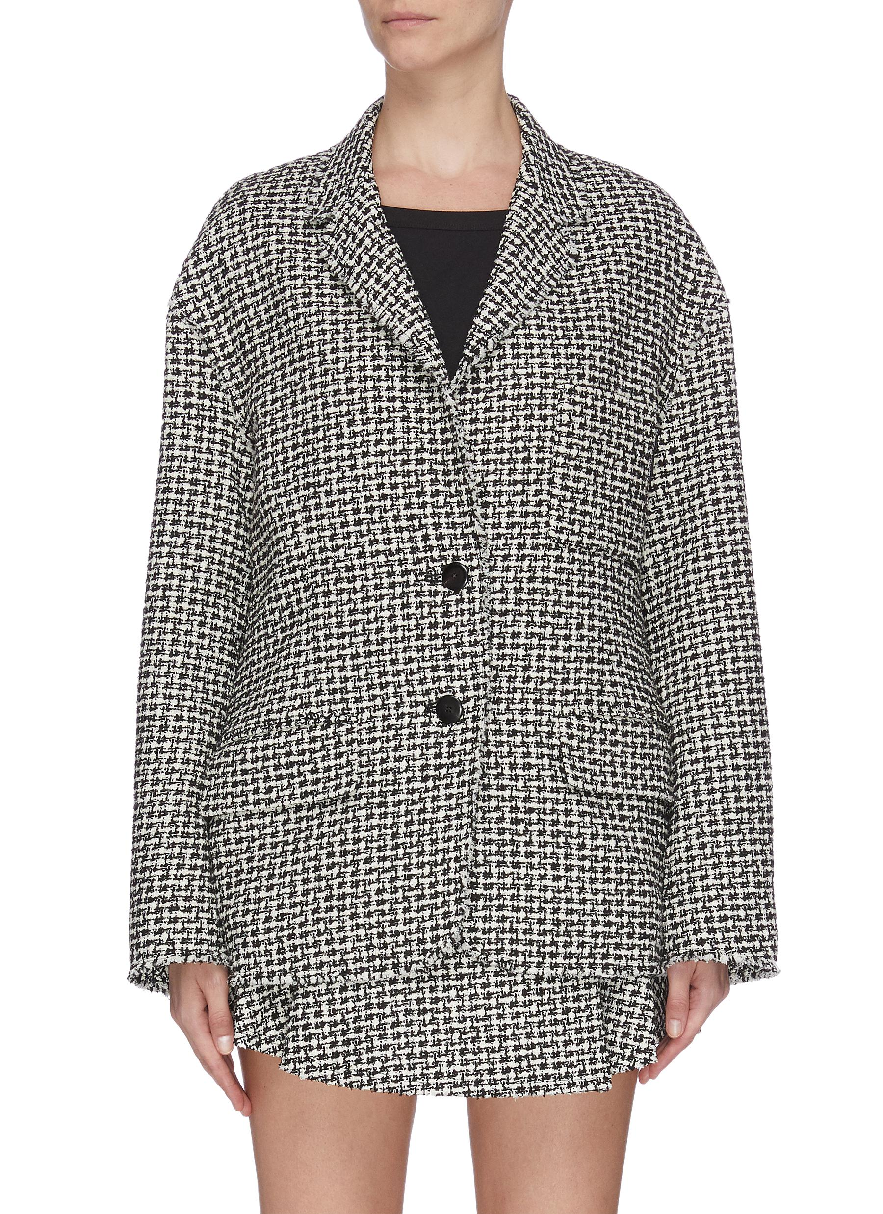 shop Alexander Wang Houndstooth check plaid tweed blazer online