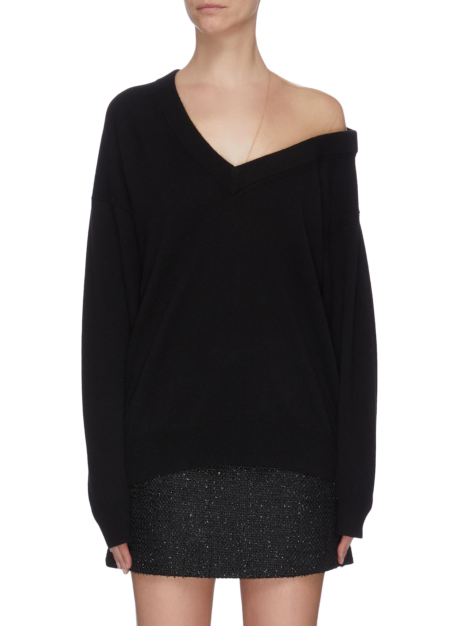 shop Alexander Wang Off-shoulder sheer panel asymmetrical sweater online