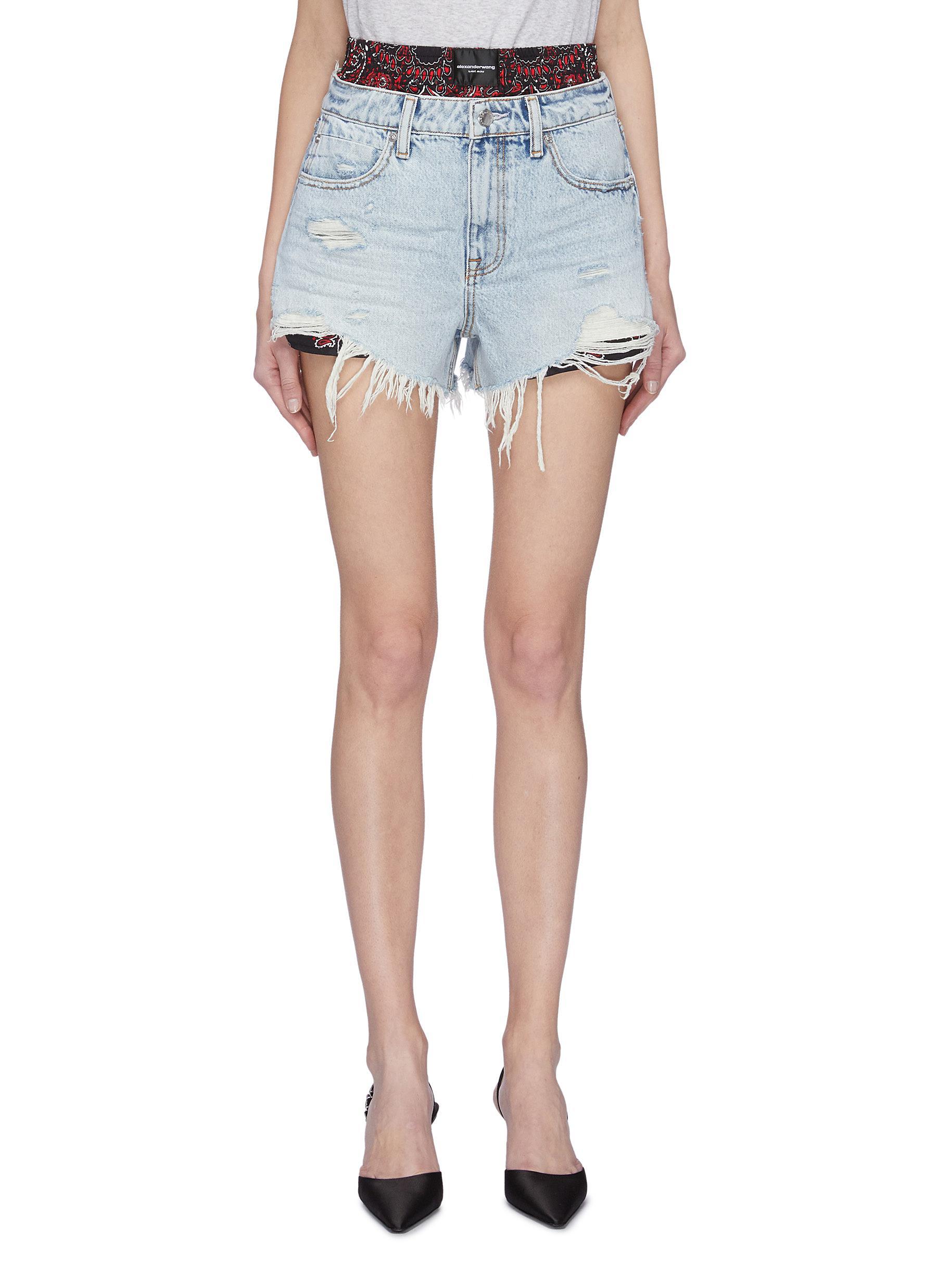 shop Alexander Wang Bite' bandana print underlayer distressed denim shorts online